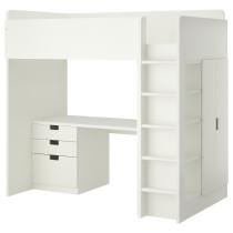 Кровать-чердак, 3 ящика, 2 дверцы СТУВА белый артикуль № 790.482.02 в наличии. Онлайн сайт IKEA РБ. Недорогая доставка и монтаж.