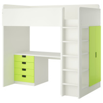 Кровать-чердак, 4 ящика, 2 дверцы СТУВА зеленый артикуль № 690.482.26 в наличии. Онлайн магазин ИКЕА РБ. Недорогая доставка и монтаж.