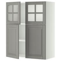 Навесной шкаф, полки, 2 двери, 2 стеклянные дверцы МЕТОД серый артикуль № 999.186.81 в наличии. Онлайн сайт ИКЕА Минск. Недорогая доставка и соборка.