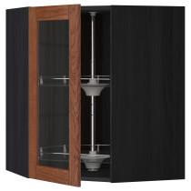 Угловой навесной шкаф с вращающающейся секцией, стеклянными дверцами МЕТОД черный артикуль № 990.526.98 в наличии. Онлайн магазин ИКЕА РБ. Недорогая доставка и установка.