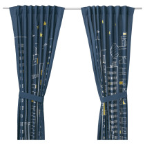 Гардины с прихватом, 1 пара ХЕММАХОС темно-синий артикуль № 403.323.47 в наличии. Онлайн сайт IKEA Минск. Недорогая доставка и монтаж.