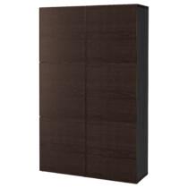 Комбинация для хранения с дверцами БЕСТО черно-коричневый артикуль № 992.055.78 в наличии. Интернет сайт IKEA РБ. Недорогая доставка и соборка.