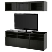 Шкаф для ТВ, комбинированный, стекляные дверцы БЕСТО артикуль № 291.965.01 в наличии. Интернет сайт IKEA Минск. Недорогая доставка и установка.