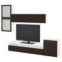 Шкаф для ТВ, комбинированный, стекляные дверцы БЕСТО белый артикуль № 592.075.22 в наличии. Online магазин IKEA РБ. Недорогая доставка и установка.