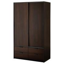 Гардероб с раздвижными дверцами, 4 ящика ТРИСИЛ темно-коричневый артикуль № 303.697.89 в наличии. Онлайн магазин IKEA РБ. Быстрая доставка и установка.
