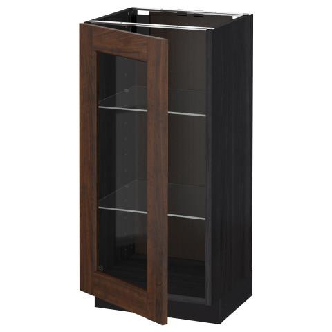 Напольный шкаф со стеклянной дверцей МЕТОД черный артикуль № 392.268.09 в наличии. Online магазин IKEA РБ. Недорогая доставка и соборка.